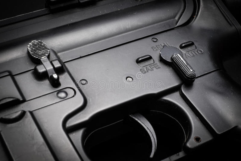 Semi mode assault rifle on black background. Assault rifle on black background royalty free stock image
