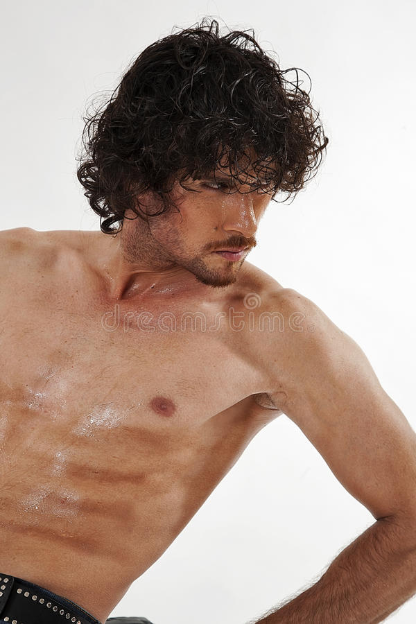 Semi Nude Portraits Of Handsome Muscular Man Royalty Free Stock Images