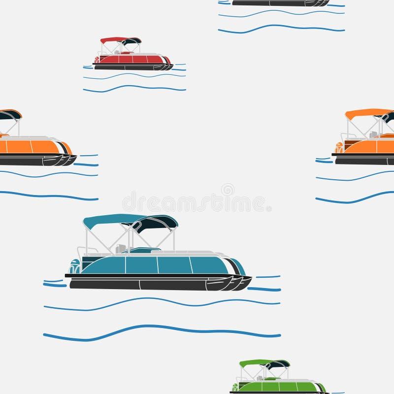 Free Semi-Oblique Side Pontoon Boat Vector Illustration Seamless Pattern Stock Photo - 135745170