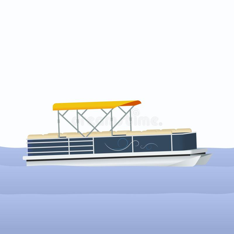 Free Semi-Oblique Side View Pontoon Boat Vector Illustration Royalty Free Stock Image - 96962496