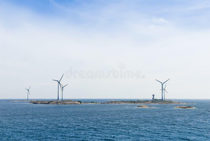 Semi offshore windfarm Åland. Semi offshore windfarm Båtskär. Åland, Finland, Europe stock images