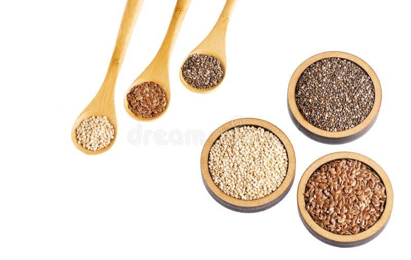Semi organici della quinoa, seme di lino e Chia - Superfoods fotografia stock