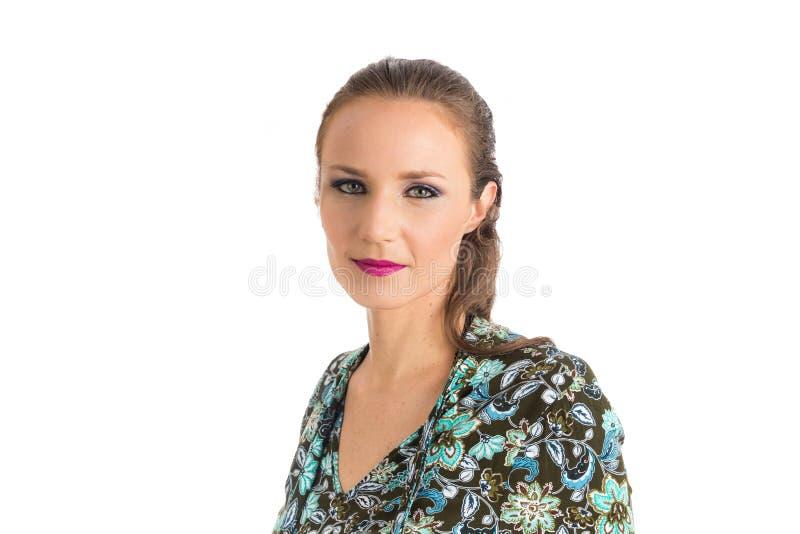 Semi profil de femme Elle est blonde et belle images stock