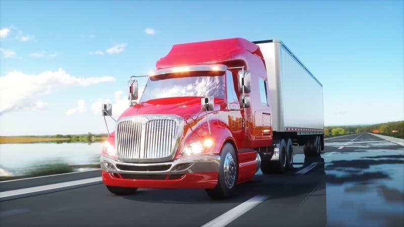 Semi reboque, caminhão na estrada, estrada Transportes, conceito da logística rendição 3d ilustração stock