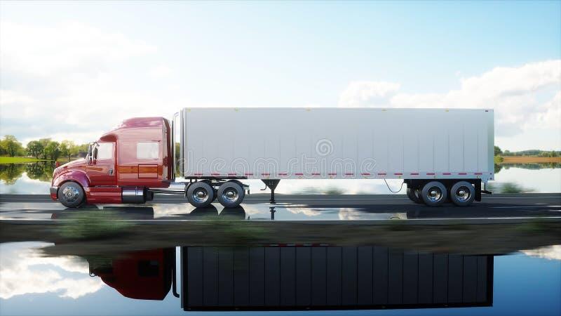 Semi remolque, camión en el camino, carretera Transportes, concepto de la logística representación 3d stock de ilustración