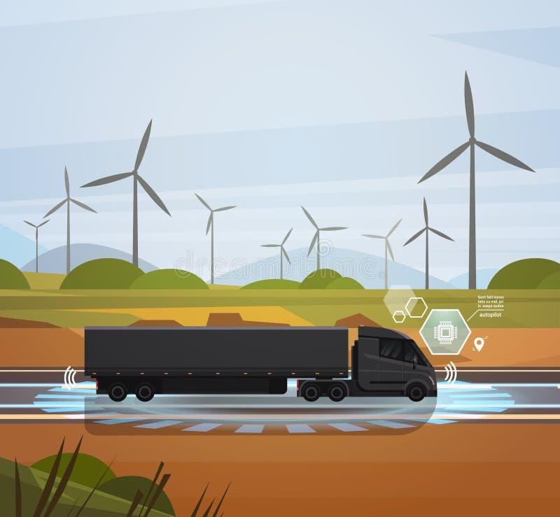 Semi remolque grande del camión que conduce sobre campo con paisaje de las turbinas de viento stock de ilustración