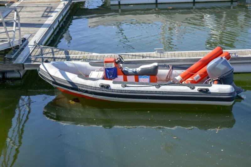 Semi Rigid Boat in the Marina stock photos