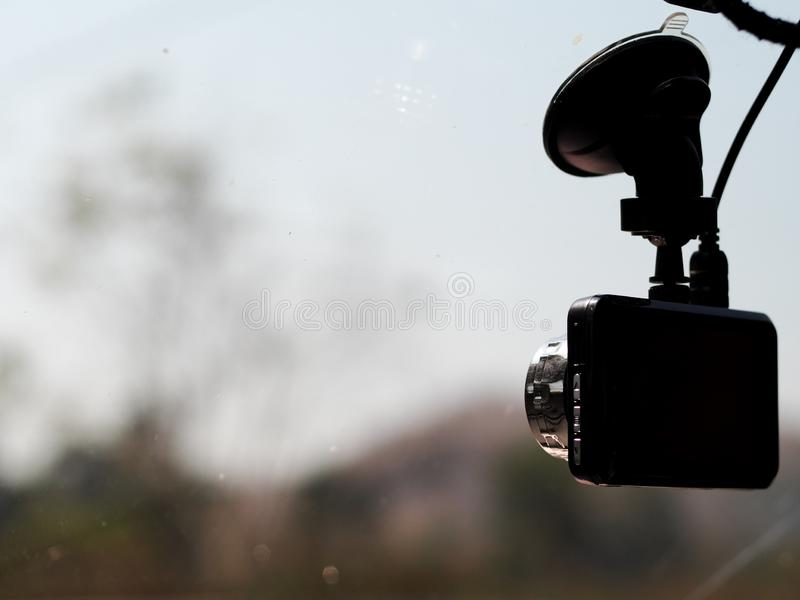 Semi silhouette view of a car digital video traffic record camera royalty free stock photo