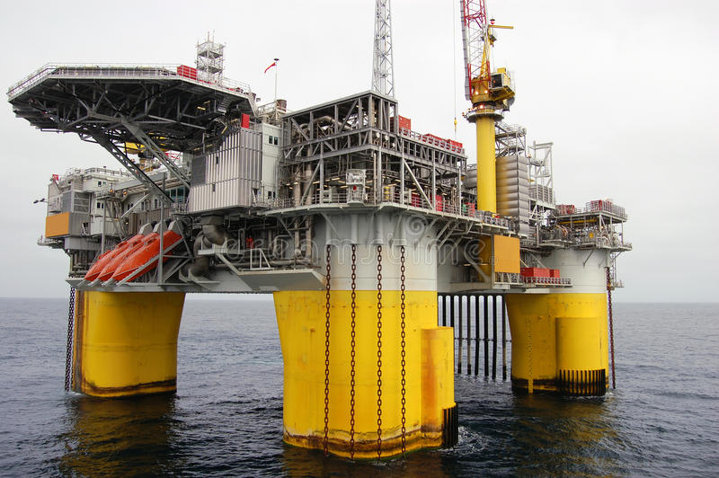 Semi submersible Oil platform in North Sea stock photos