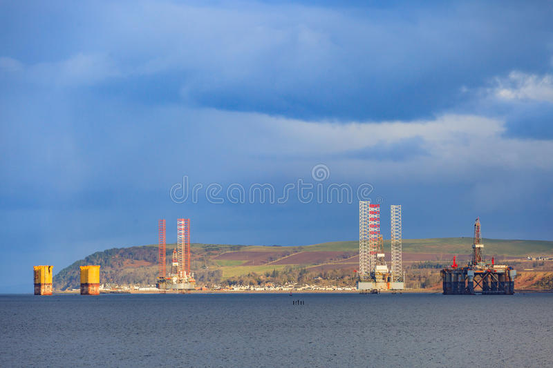 Semi Submersible Oil Rig at Cromarty Firth in Invergordon. Scotland royalty free stock images