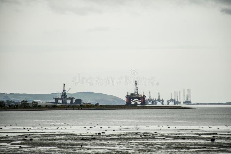 Semi Submersible Oil Rig Field offshore between inverness Invergordon Scotland 2. Semi Submersible Oil Rig Field offshore between inverness and Invergordon stock photos