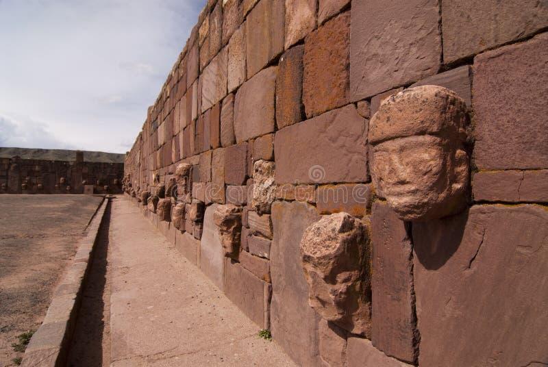 Semi-subterranean Temple in Tiwanaku. Bolivia. Declared UNESCO World Heritage Site stock photos