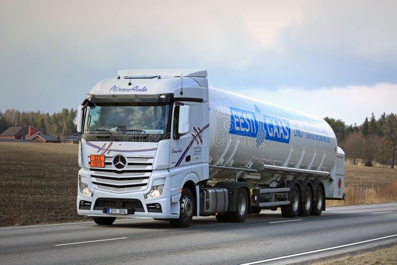 Semi Tanker Hauls Natural Gas royalty free stock image