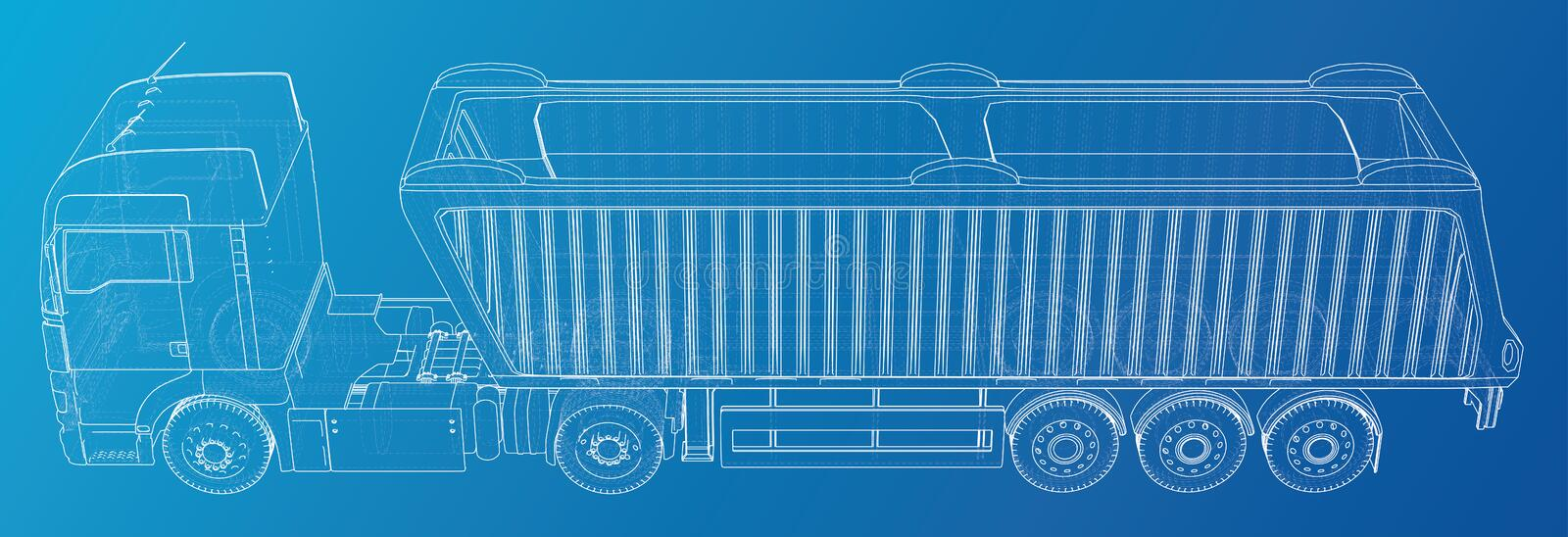 Semi-trailer Dump Truck Sketch Isolated On Blue Background
