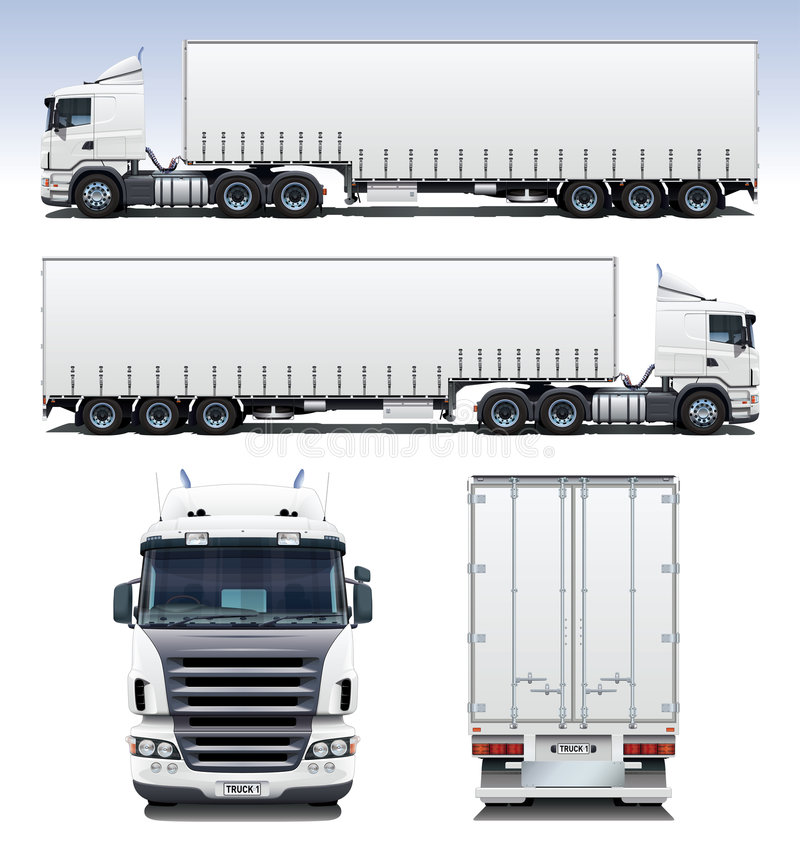 Semi-Trailer Truck. A highly detailed illustration of a semi-trailer truck. Perfect for applying company graphics to stock illustration