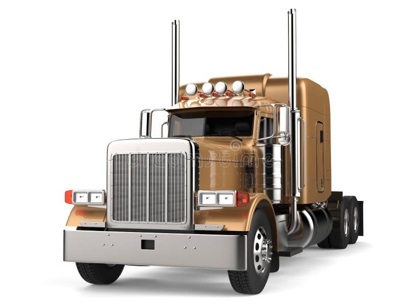 Semi - trailer truck - long haul - gold. Isolated on white background stock illustration