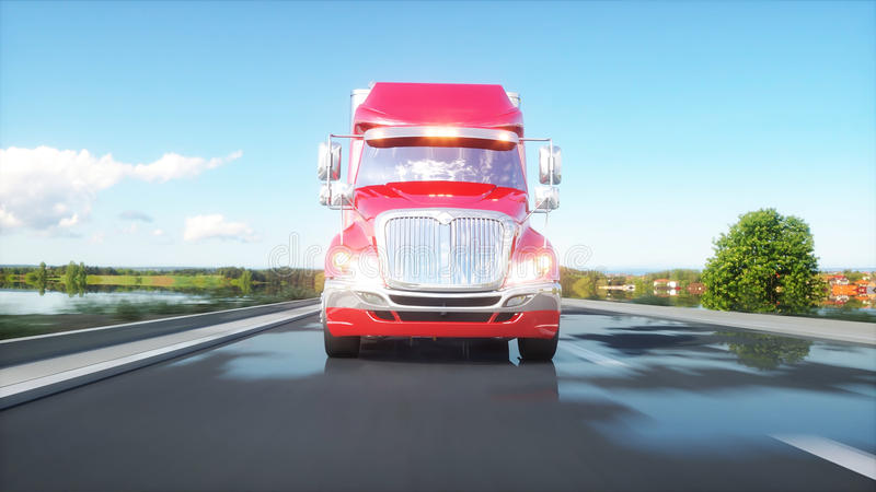 Semi trailer, Truck on the road, highway. Transports, logistics concept. 3d rendering. stock illustration