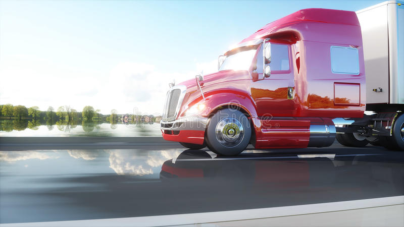 Semi trailer, Truck on the road, highway. Transports, logistics concept. 3d rendering. royalty free illustration