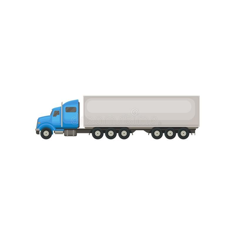 Semi truck with blue cab and long gray trailer. Vehicle for transportation cargo. Flat vector element for promo poster royalty free illustration