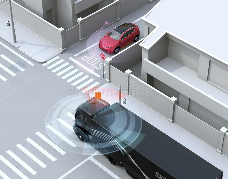 Semi truck detected car in one-way street in the blind spot. Connected car concept. 3D rendering image stock illustration