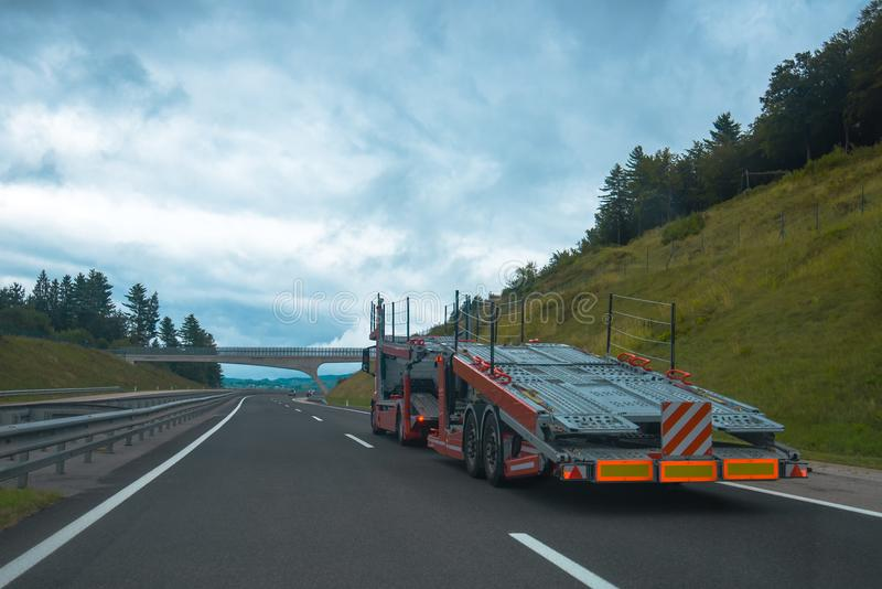 Semi truck with car carrier trailer royalty free stock photography