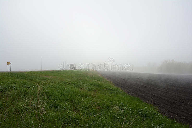 Semi Truck in Fog stock photos