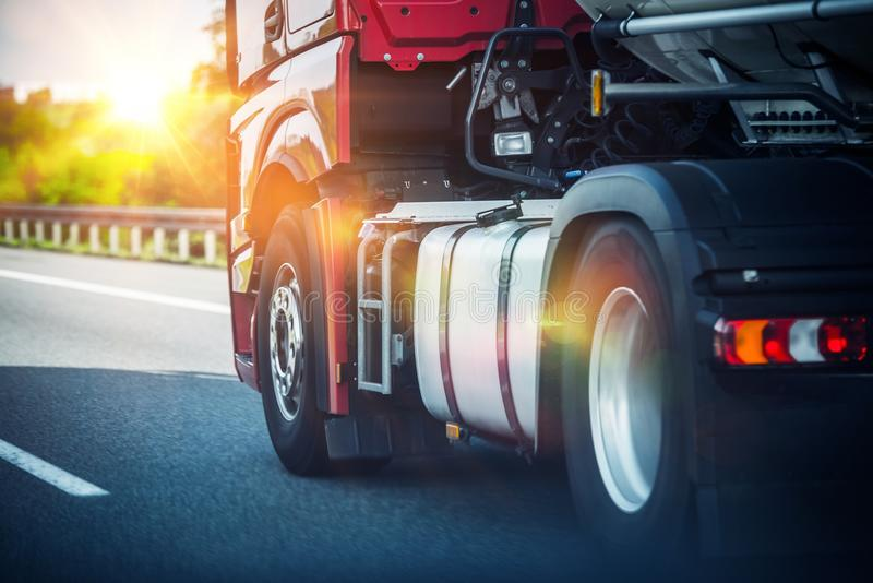 Semi Truck on a Highway royalty free stock photos
