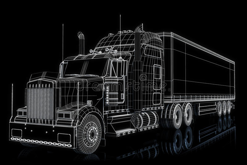 Semi truck illustration. On a black background vector illustration