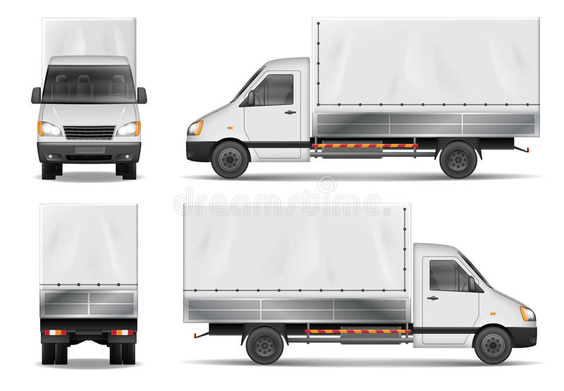 Semi truck isolated on white. Commercial cargo lorry. Delivery truck vector template from side, back, front View. Delivery truck vector template. Semi truck vector illustration