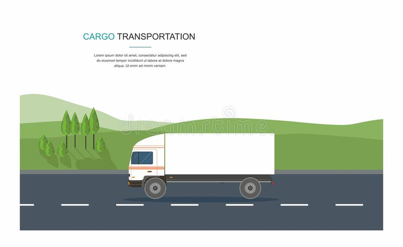 Semi-truck on the road and Gas filling station on city background stock illustration