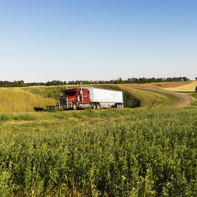 Download Semi truck on rural road. stock image. Image of outdoors - 3422629
