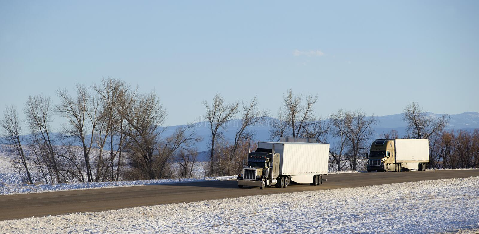 Semi truck with trailer royalty free stock images