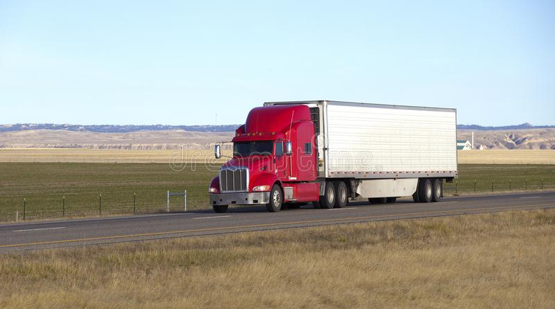 Semi truck with trailer stock photography