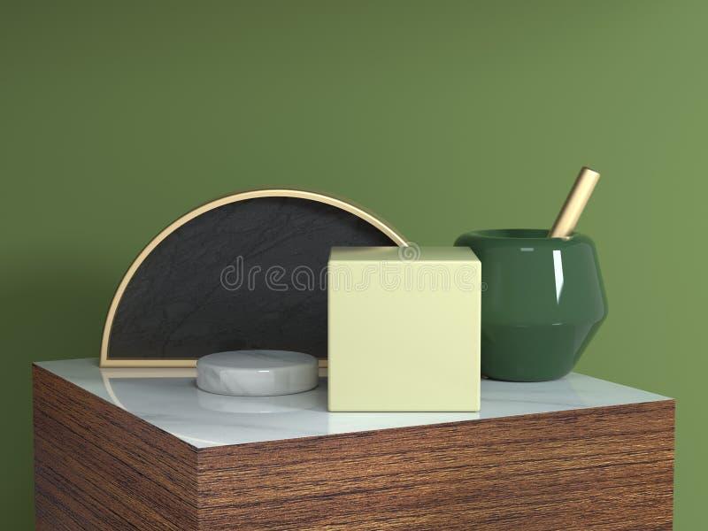 Semi van de het podium abstracte geometrische vorm van de cirkel gouden zwarte bruine houten textuur vierkante het stilleven vast vector illustratie
