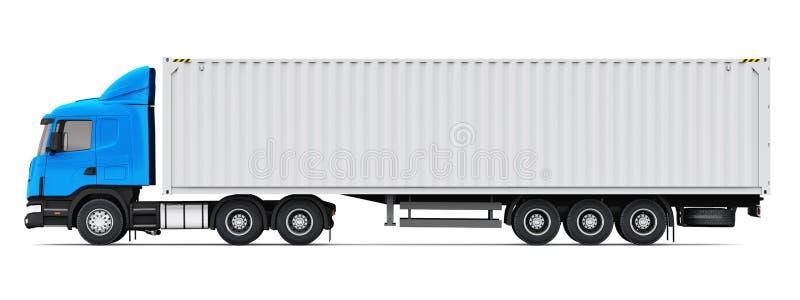 Semi-vrachtwagen met zware de ladingscontainer van 40 voet vector illustratie