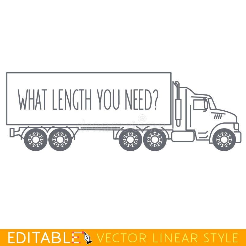Semi Vrachtwagen Zijaanzicht Editable vectorpictogram in lineaire stijl royalty-vrije illustratie