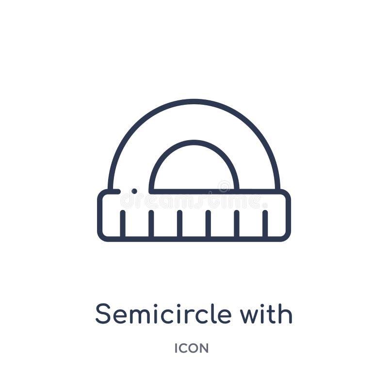 Semicírculo linear com ícone da régua da coleção do esboço da educação Linha fina semicírculo com o ícone da régua isolado no bra ilustração royalty free