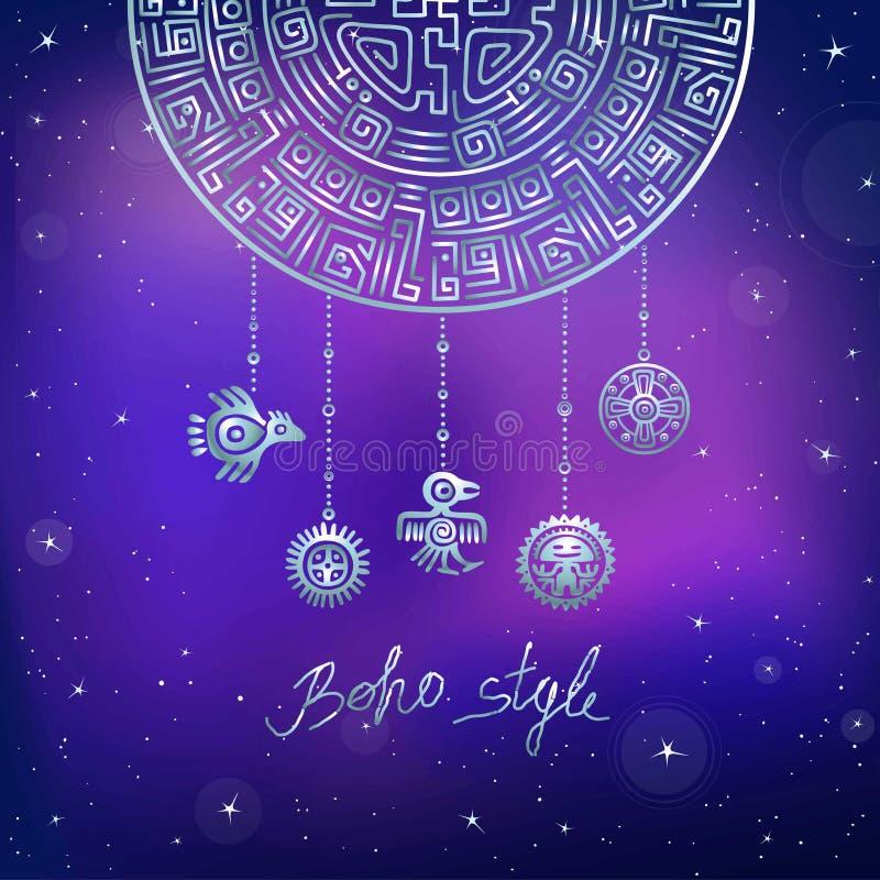 Semicírculo místico decorativo, joia étnica ilustração stock