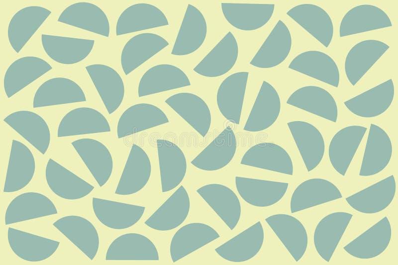 Semicírculos al azar azules en el fondo blanco Modelo geom?trico abstracto de las formas en el estilo retro para la impresi?n de  ilustración del vector