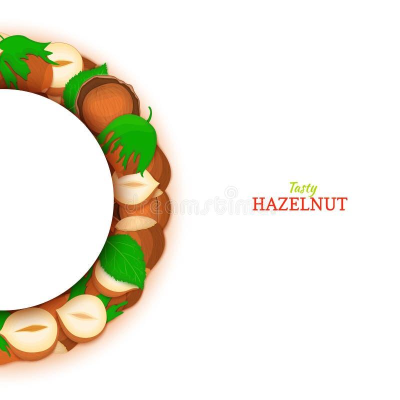 Semicircle πλαίσιο που αποτελείται από το καρύδι φουντουκιών Διανυσματική απεικόνιση καρτών Πλαίσιο λεπτοκάρυων καρυδιών, φρούτα  ελεύθερη απεικόνιση δικαιώματος