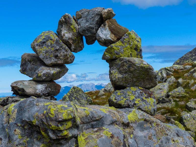 Semicircle of boulders on a mountain top royalty free stock photos
