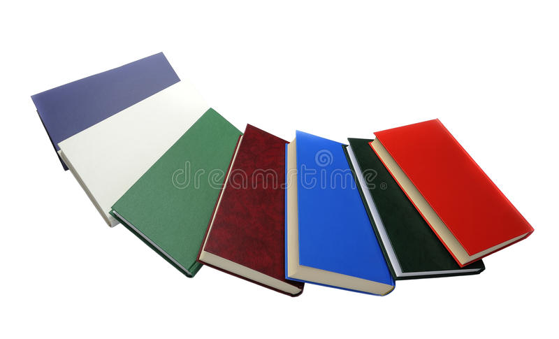 Semicircle of colored books stock photography
