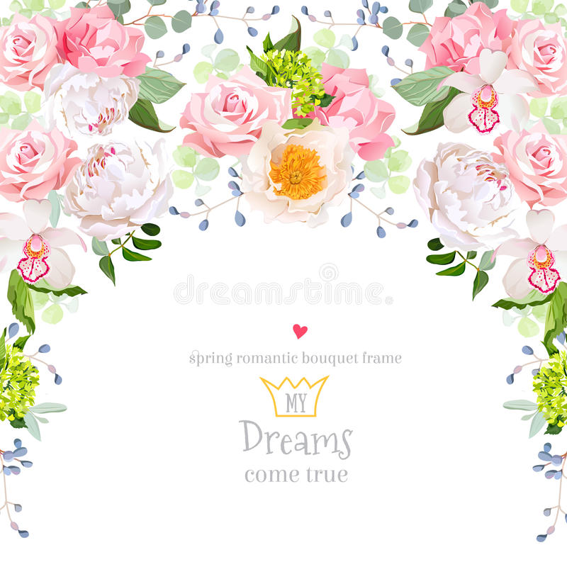 Free Semicircle Garland Frame With White Peony, Pink Rose, Orchid, Carnation, Green Hydrangea, Eucaliptus Leaves Stock Photography - 75400872