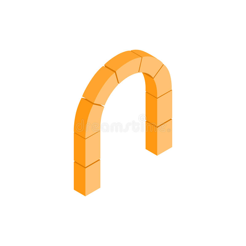 Semicircular stone arch icon, isometric 3d style royalty free illustration
