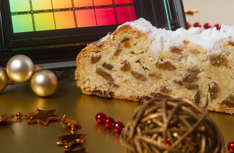 Semiconductor Christmas. A reticle with German Dresdner Christstollen – a classical German christmas cake. Use for semiconductor stock photo