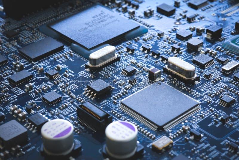 Semiconductor de la placa de circuito y hardware electrónicos de la placa madre imagen de archivo libre de regalías