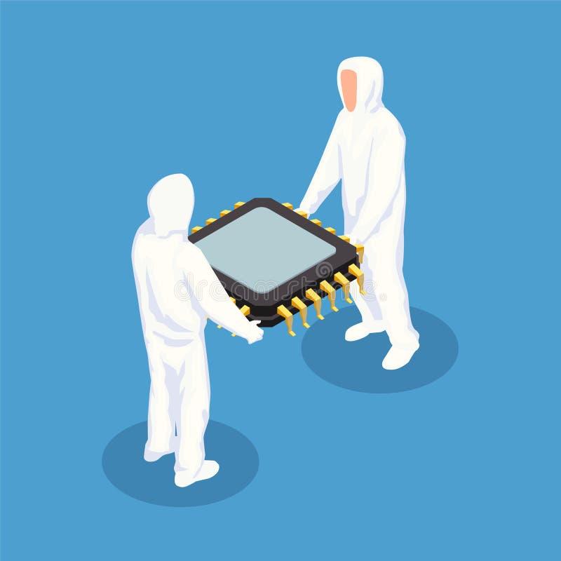 Semiconductor Isometric Design Concept stock illustration