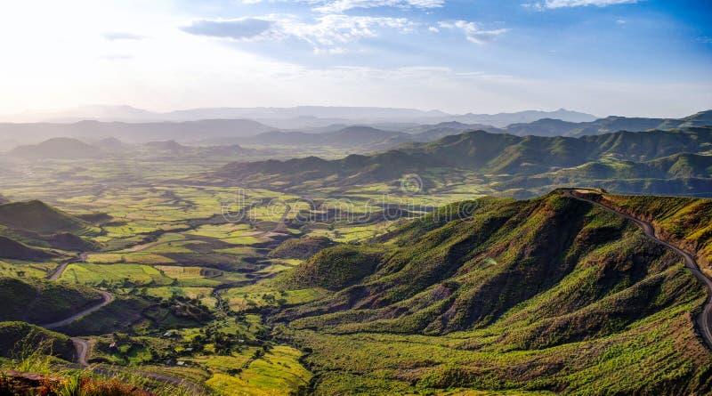 Semien山和谷全景在拉利贝拉埃塞俄比亚附近 库存照片