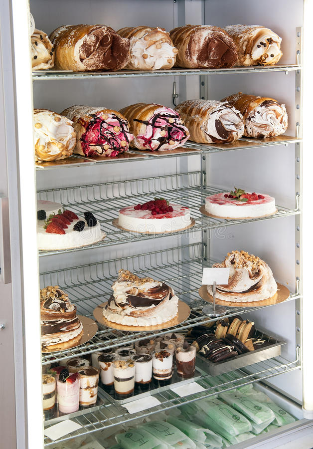 Semifreddo Cakes And Desserts In A Refrigerator Stock Photo Image