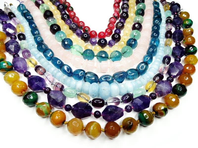 Semigem halsband med ljusa kristallsmycken royaltyfri fotografi